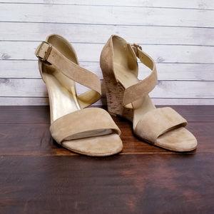 Stuart Weitzman Lineone Suede Cork Wedge Sandals